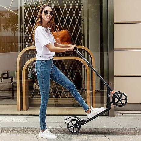 Hikole: Patinete plegable con rueda grande y ajustable en altura