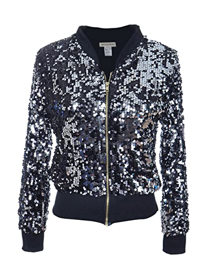 0789914df Amazon.com: Anna-Kaci Womens Sequin Long Sleeve Front Zip Jacket ...
