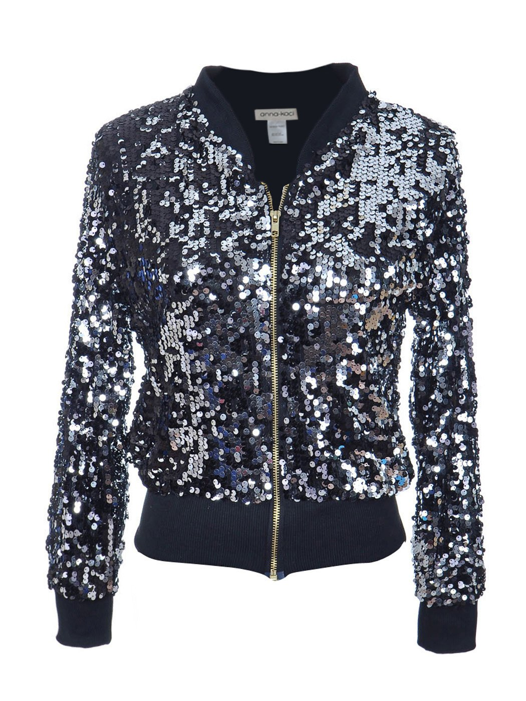 Anna-Kaci Womens Sequin Long Sleeve Front Zip Jacket with Ribbed Cuffs, Black, Small