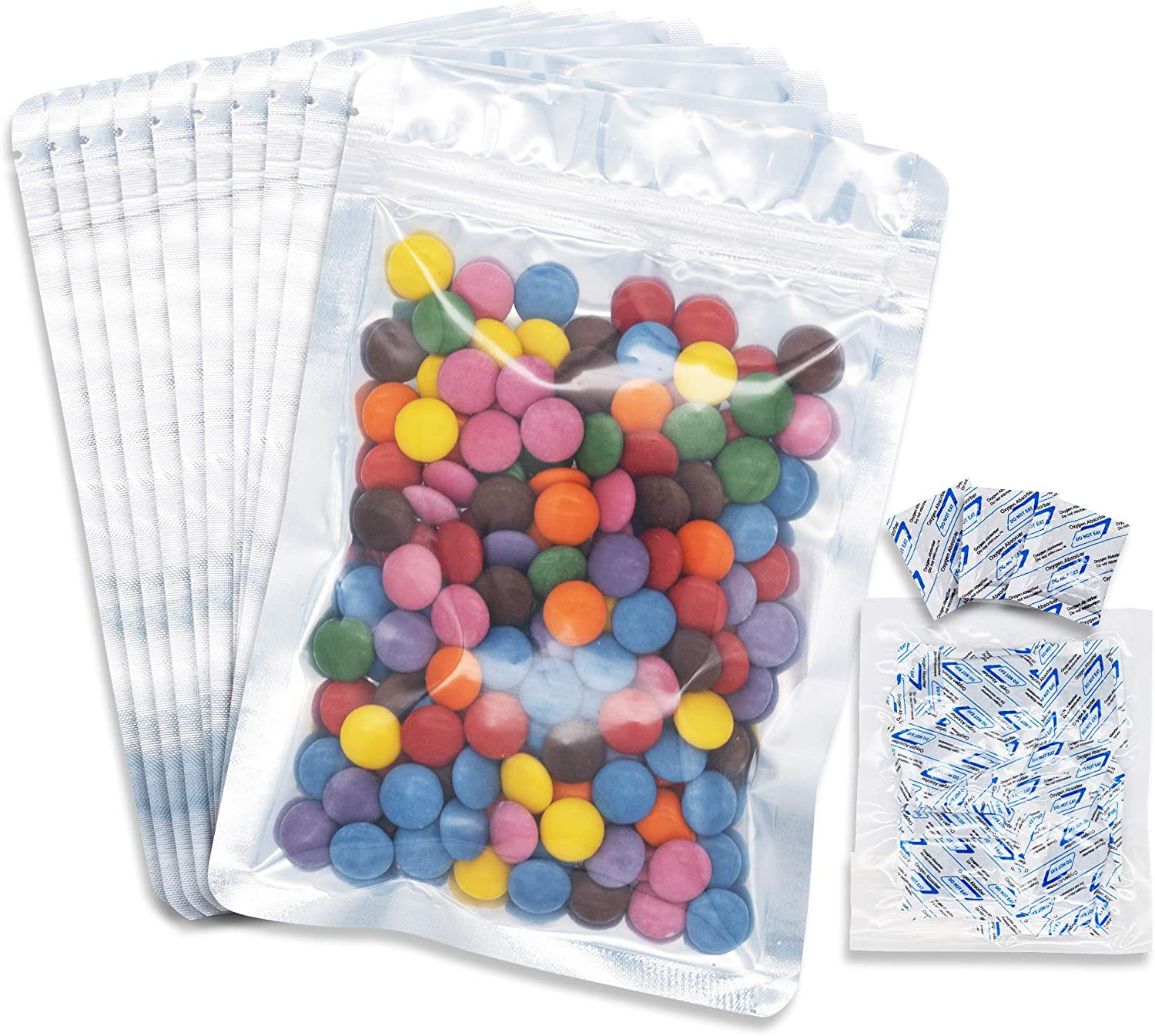 100 pcs Ziplock Mylar Bags for Food Storage - 5.5