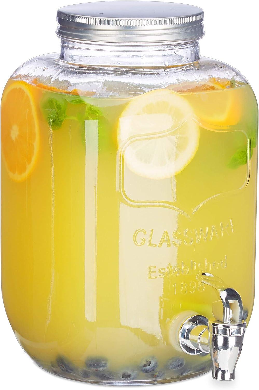 Relaxdays Dispensador de Bebidas con Grifo, Cristal, Vintage, Expendedor de refrescos, 5 L, Transparente, 28.00 x 15.00 x 16.00 cm
