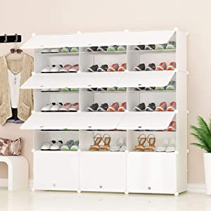 JJOISCOPE Portable Shoe Storage Organzier Tower, Modular Cabinet Shelving for Space Saving, Shoe Rack Shelves for shoes, Boots, Slippers (3x7-tier)