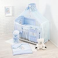Babybeddengoed, complete set XXL, 18-delig, beddengoed, 100% katoen met borduurwerk + muggennet, geborduurde teddybeer…