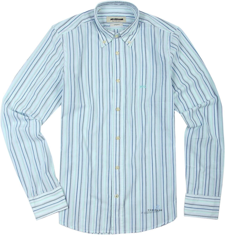 McGregor - Camisa Casual - con Botones - Manga Larga - para Hombre Weiß-Blau-Grün 42/44: Amazon.es: Ropa y accesorios