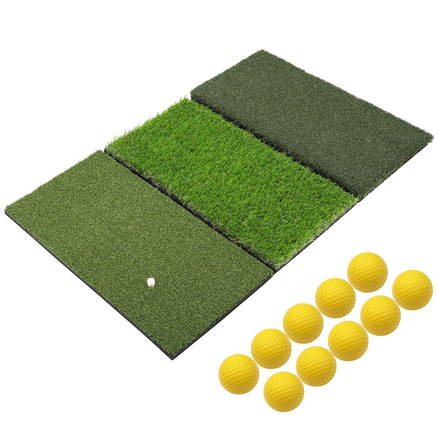 SkyLife 3-Turf Golf Hitting Grass Mat 24'' x 37'', Portable Training Fairway Rough TEE Turf, Driving Chipping Putting Golf Equipment, Home Backyard Garage Outdoor Practice (XL 24'' X 37'') by SkyLife
