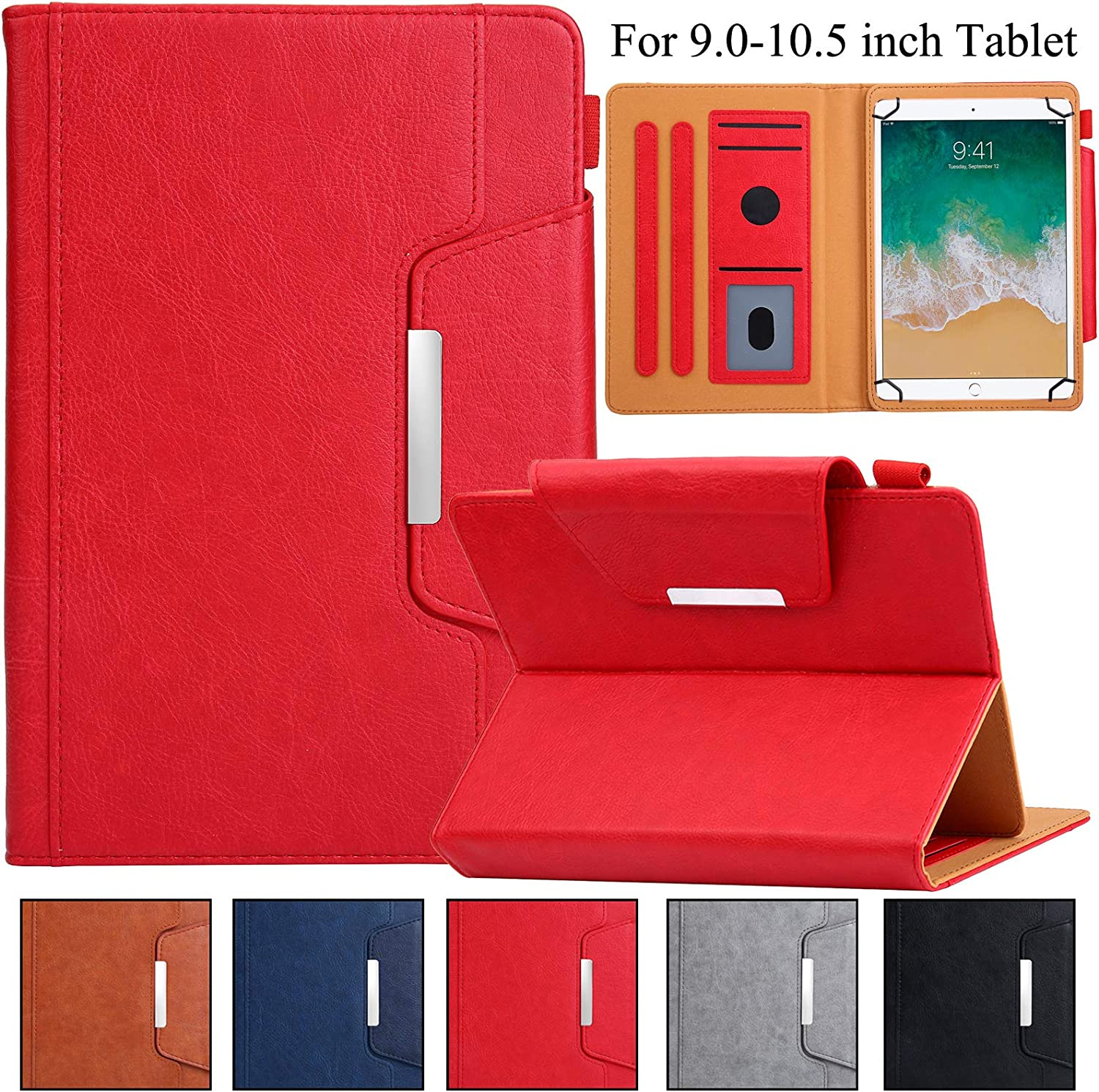 """Universal Case for 9.5""""-10.5"""" Tablet, Artyond PU Leather Cover Slim Fit Folio Cards Slots Case for All Fire HD 10, iPad 9.7 and More 9.6"""" 9.7"""" 10.1"""" 10.5"""" Android iOS Tablet (Red)"""