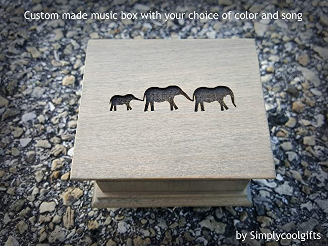 Amazoncom Engraved Wooden Music Box With An Elephant Family On The