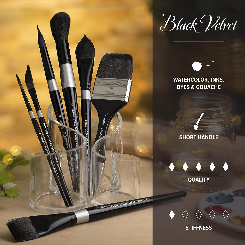 Size 2 Silver Brush 3000S-2 Black Velvet Short Handle Blend Squirrel and Risslon Brush Round