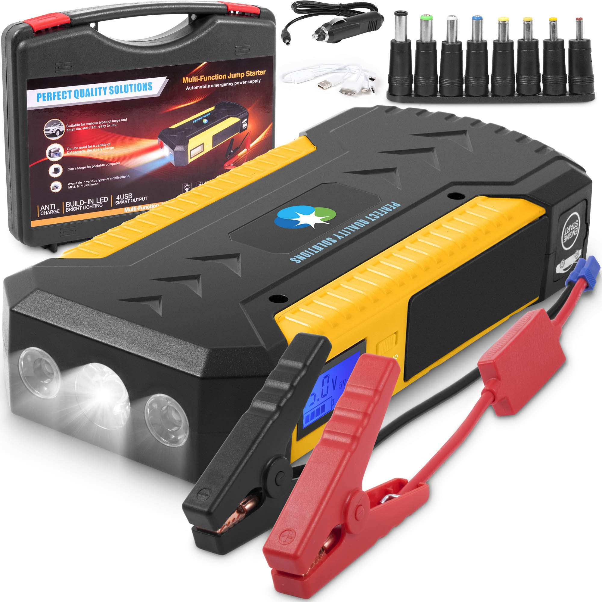 Battery Jumper Charger Pack with Cables: Jump Start any Car or Automotive Vehicles.Portable Starter 12V 18000 mAh Power Box 800 A Peak for Auto and Motorcycle Jumpstart.Batteries Emergency Booster Kit by PERFECT QUALITY SOLUTIONS
