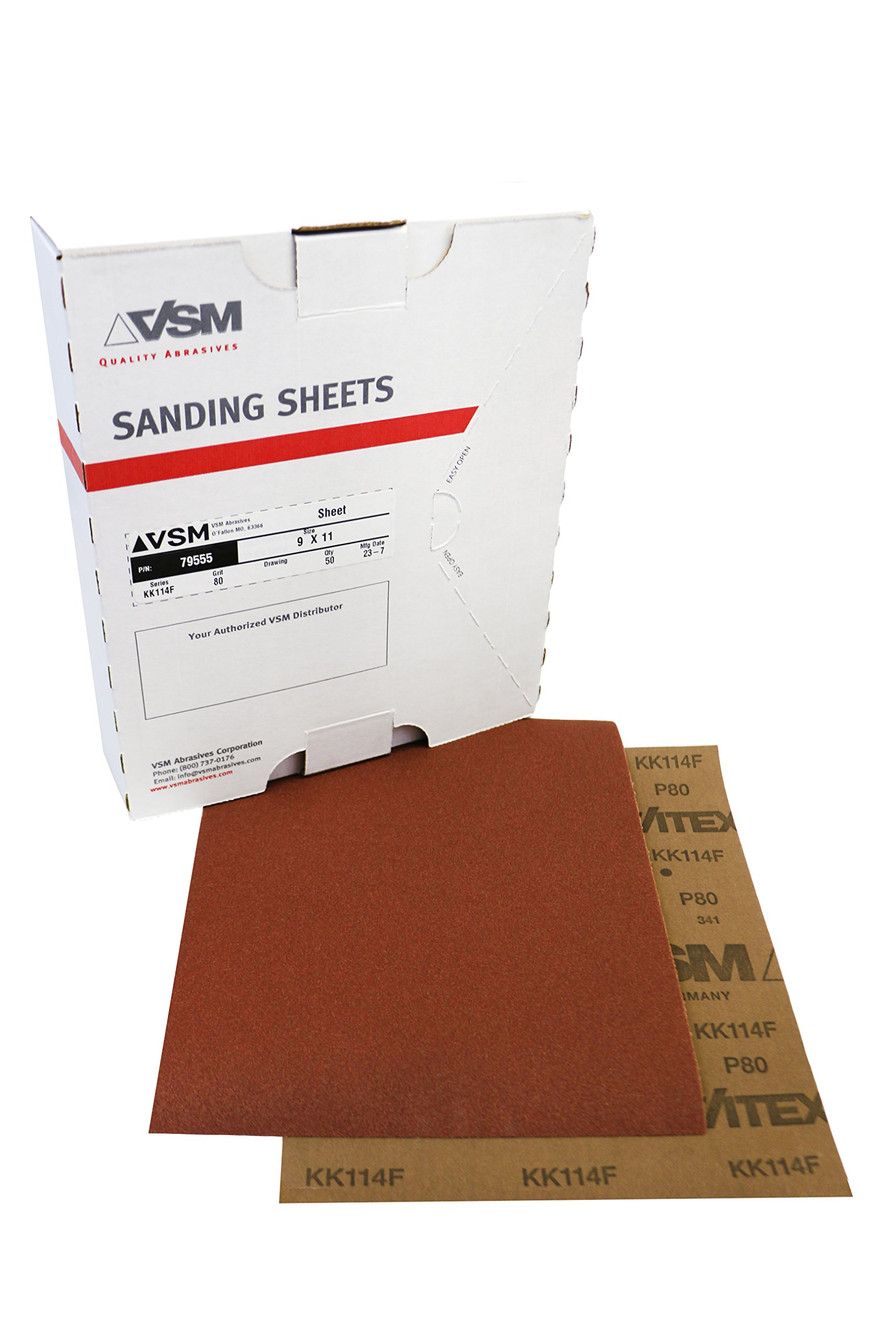VSM 80036 Abrasives Cloth Sheet, 9'' x 11'', 240 Grit, Aluminum Oxide (Pack of 50)