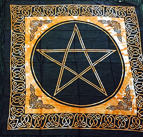 NEW AGE Pentagrama Altar Tarot Gamuza de algodón Wicca Pagan diseño