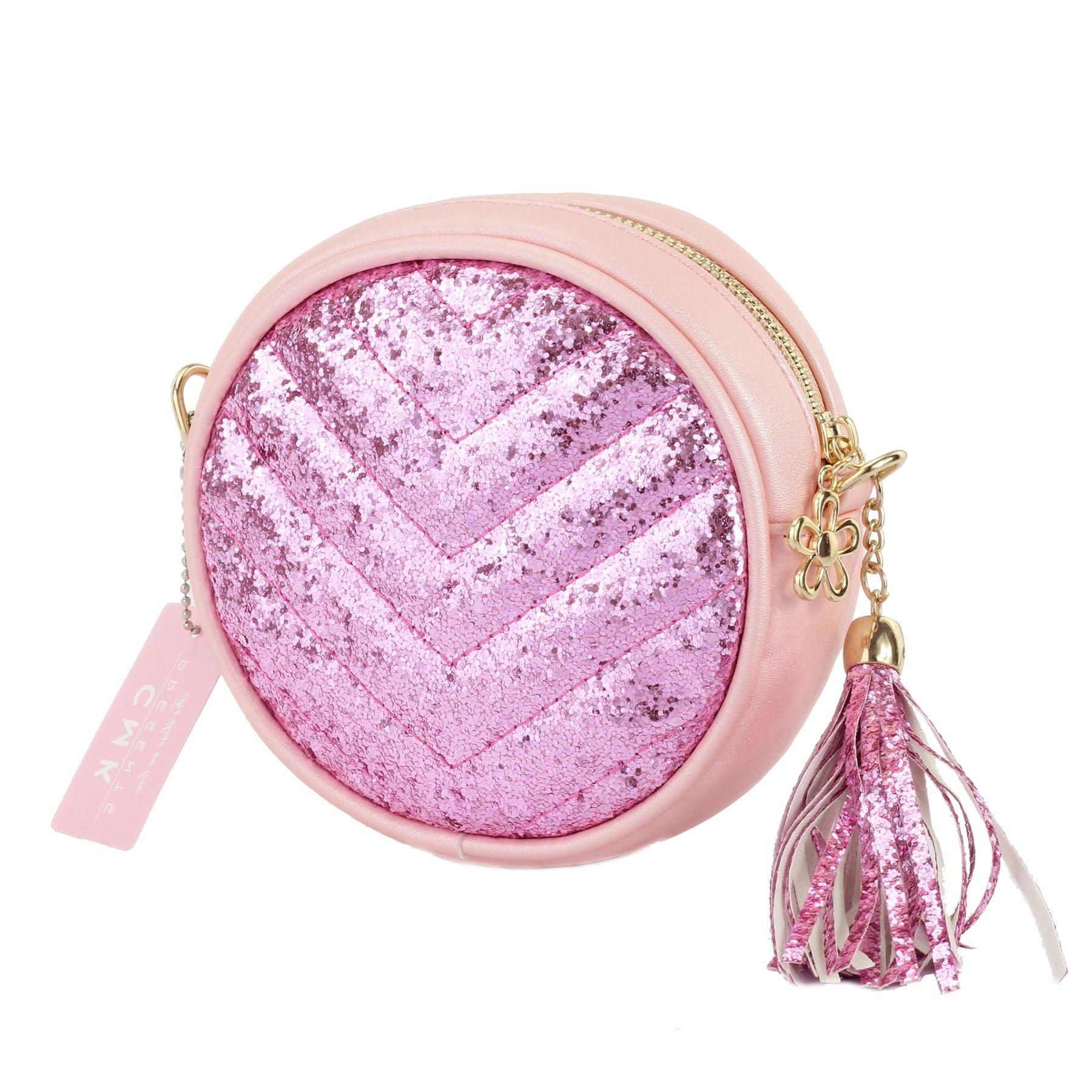 CMK Trendy Kids Girls' Round Purse with Tassel Small Handbag Princess Crossbody Fringe Bag Kids Shoulder Purse (82002_Glitter Pink)