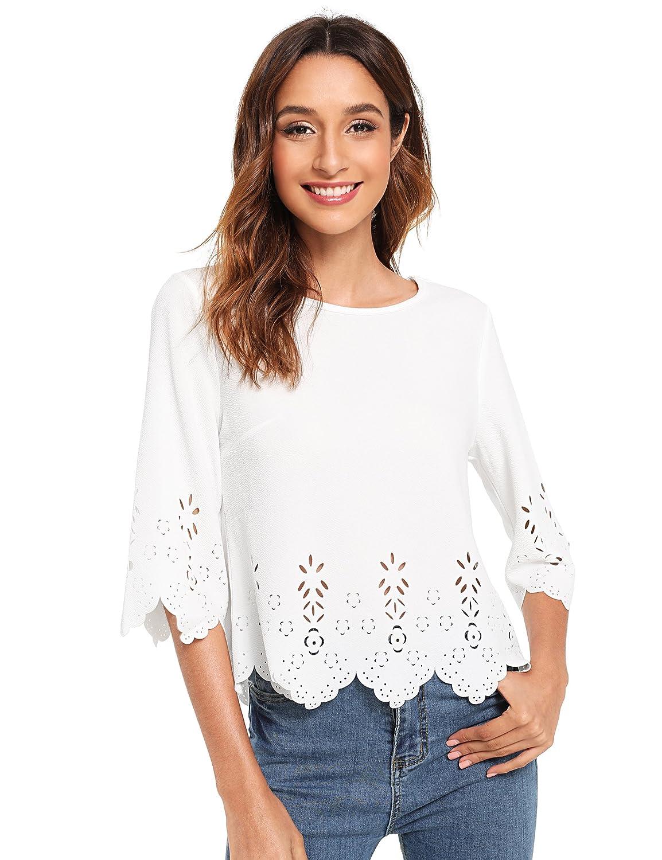 2464bc5b White Floerns Women's Plain Scallop Half Sleeve Blouse Top ...