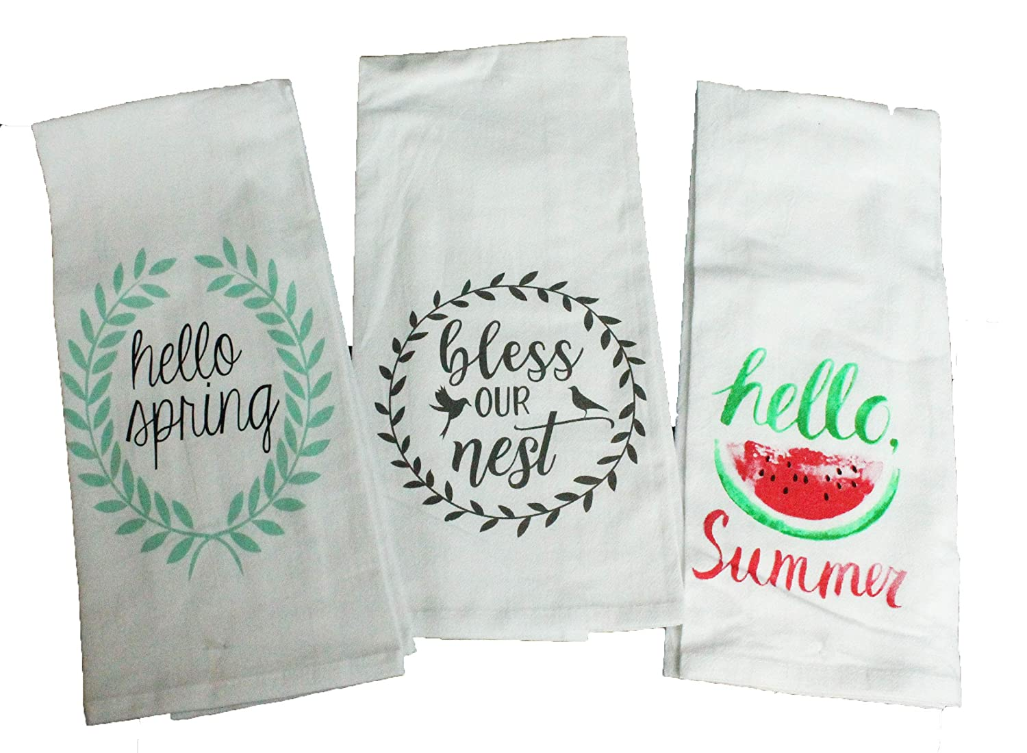 Life Is Sweet Hello Spring Comes in an organza gift bag so its ready for gift giving! Hello Summer Set of 5 Spring Summer Flour Sack Kitchen Towels Gift Set Floral Kitchen Towels