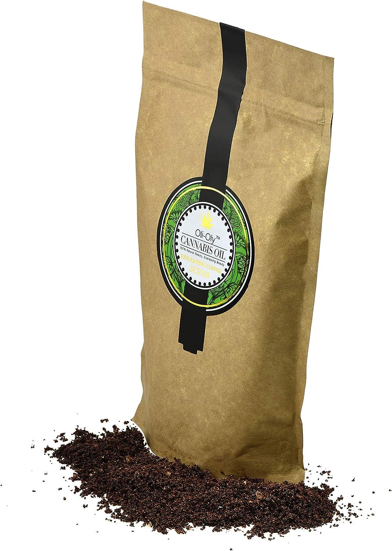 Exfoliante de café con aceite de cannabis Oli-Oly para el rostro y el cuerpo, con un fresco dulce | Ingredientes naturales - Para todo tipo de piel