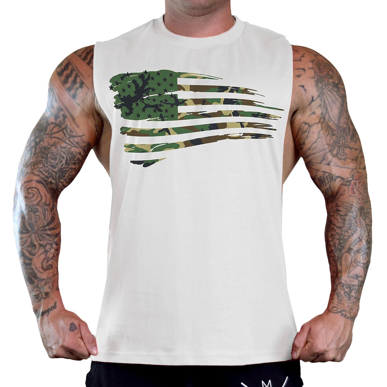 Mens Shredded Camo American Flag Tee B933 Ply White T Shirt Tank