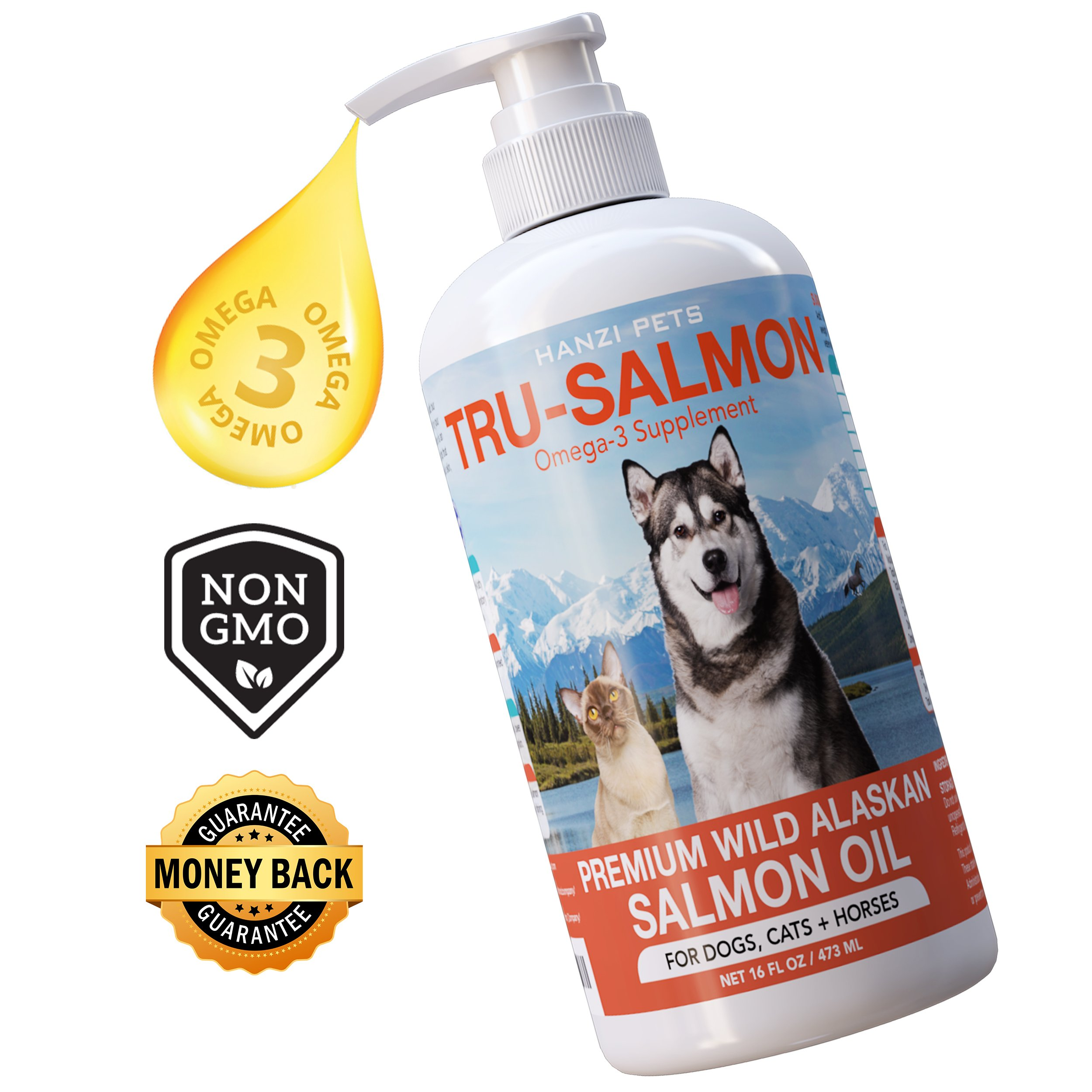 All Natural & Pure Wild Alaskan Salmon Oil for Dogs, Cats and Horses | Rich in EPA + DHA | Anti inflammatory | Supports Joint Function | Skin & Coat | Non GMO | cGMP Certified | Made in USA (16 oz)