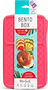 Fit and Fresh Fit & Fresh Bento Box with Removeable Ice Packs, Divided Meal Carrier, 3 Food Compartments, BPA-free, 9.5