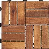 ジョイントタイル ウッドデッキ アカシア 天然木 ブラウン 10枚セット