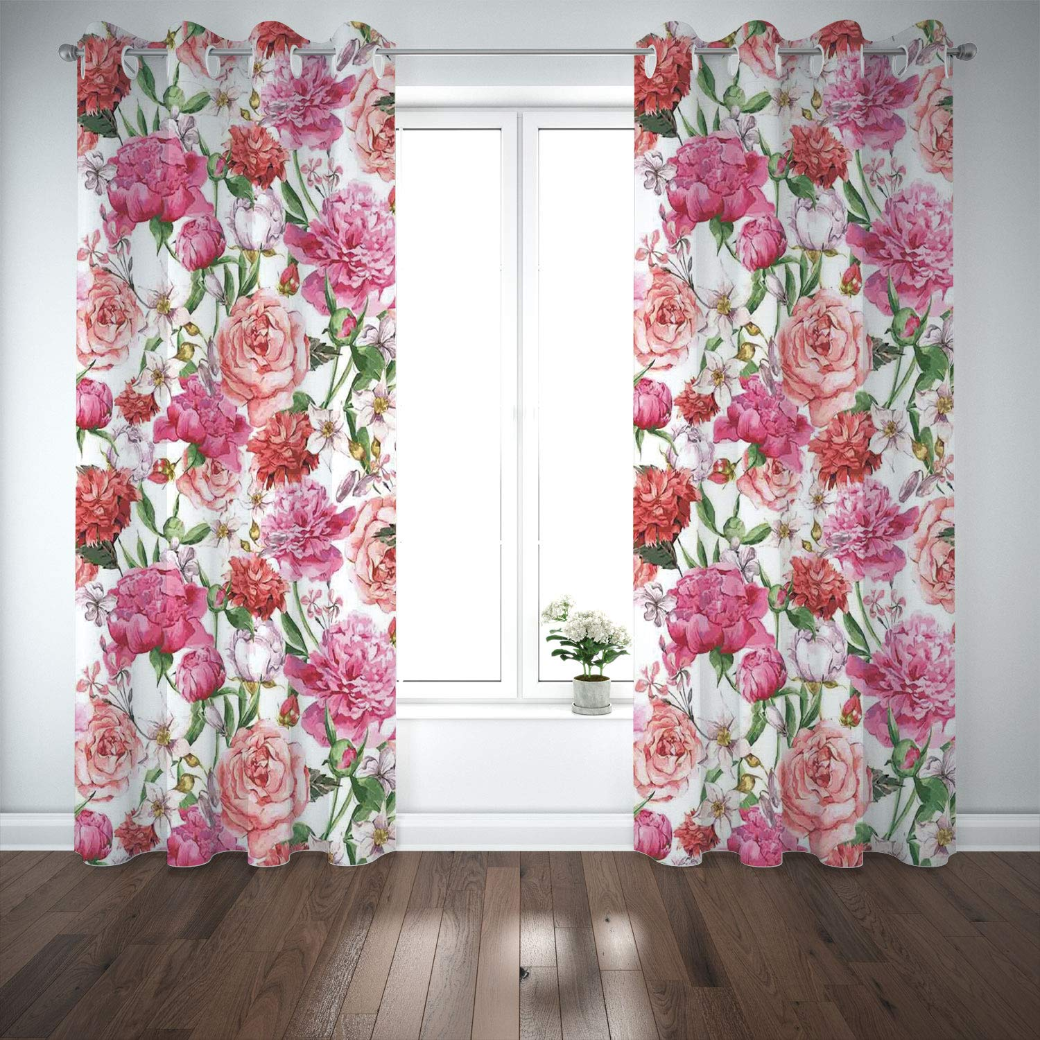 SCOCICI Grommet Satin Window Curtains Drapes [ Watercolor Flower,Peonies Roses Victorian Style Floral Pattern Painting Style Print Decorative,Pink Red White] Living Room Bedroom Kitchen Cafe