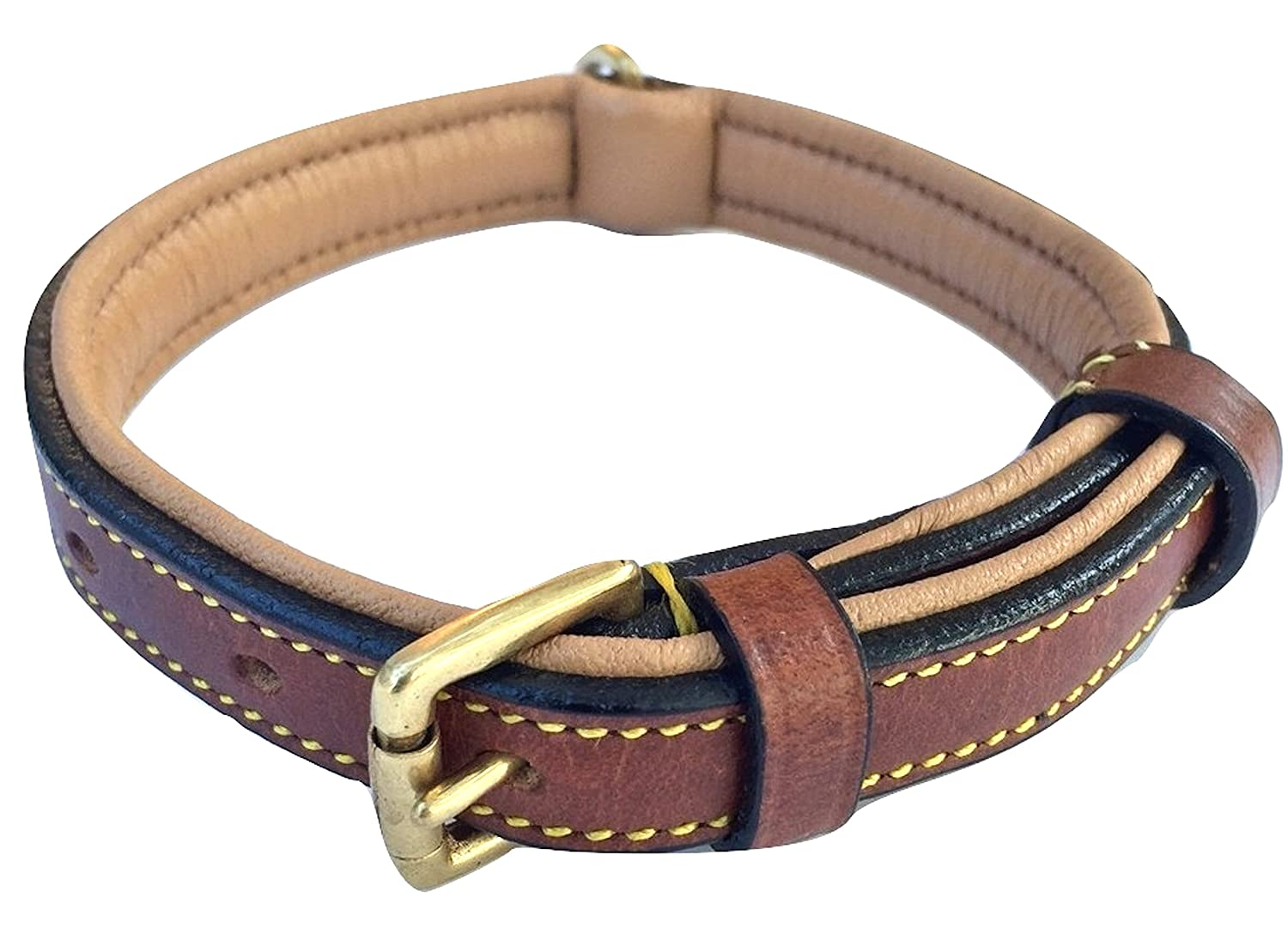 Brown Small Brown Small Soft Touch Collars Brown Leather Padded Dog Collar , Small