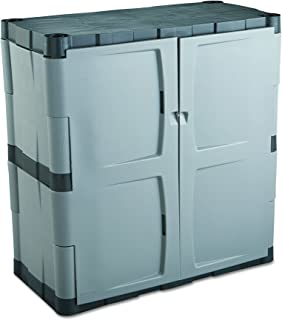 """product image for Rubbermaid Double-Door Storage Cabinet, 18"""" D x 36"""" W x 37"""" H,-Gray/Black, FG708500MICHR,Small Vertical"""