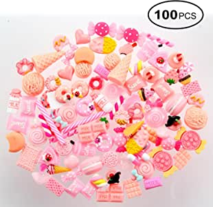 100 PCS Kawaii Charms - Aolvo Resin Flatback Buttons Beads Cute Decoden Cabochons Mixed Food Fruit Candy Chocolate Donuts Ice Cream Slime Charms Making Supplies for DIY Craft Making Scrapbooking Decor