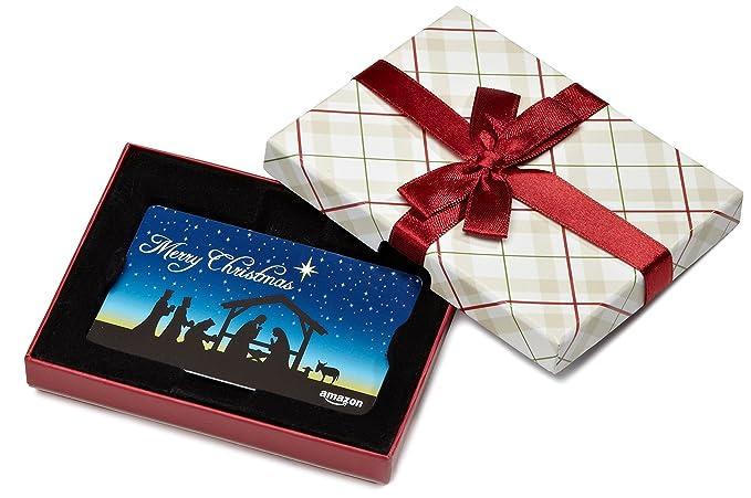 cd940579bd Amazon.com Gift Card in a Plaid Gift Box (Christmas Nativity Card Design)