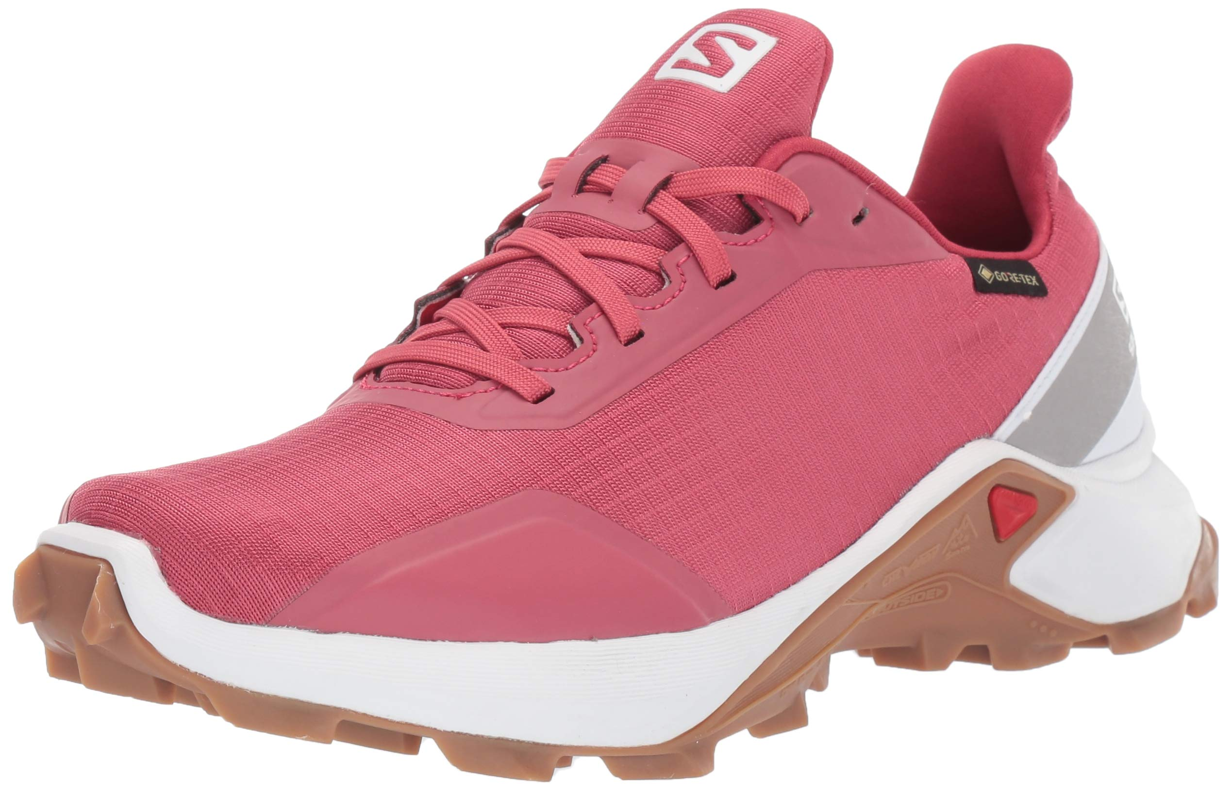 Salomon Women's Alphacross GTX Trail Running Shoes, Garnet Rose/White/GUM1A, 8.5 by SALOMON