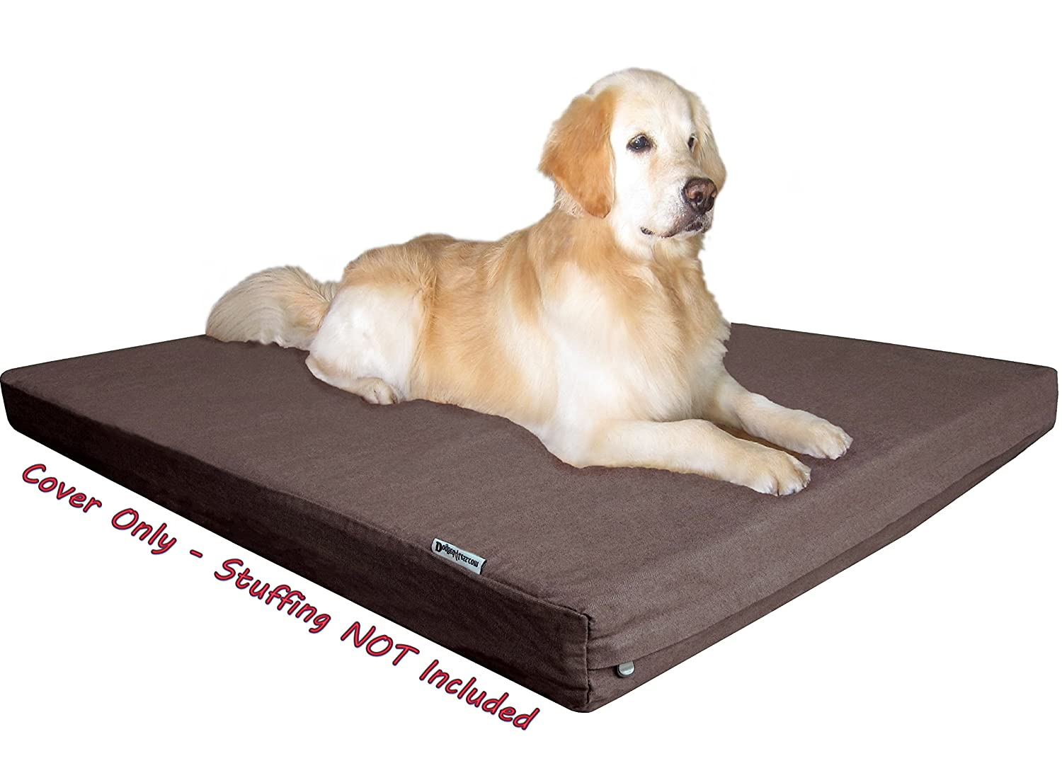 Dogbed4less Heavy Duty Chocolate Brown Denim Jean Dog Pet Bed External Cover for Small Medium to Extra Large Pet Bed Replacement cover only