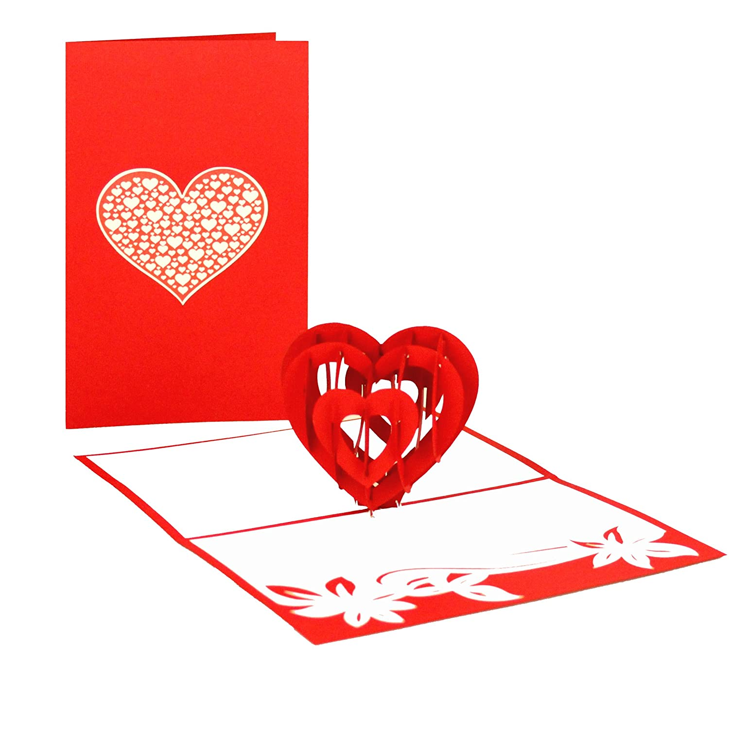 Love Heart 3D Pop up Card - Wedding Day, Wedding Card 3D Pop Up ...