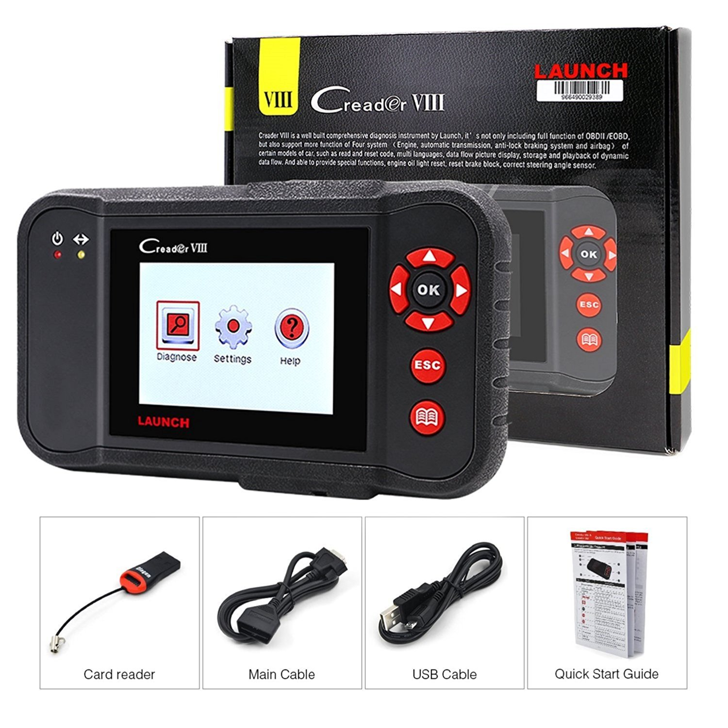LAUNCH Black X431 Creader VIII (CRP129) OBD2 Diagnostic Scan Tool ENG/at/ABS/SRS Code Reader Scanner with EPB SAS Oil Reset Function by LAUNCH (Image #5)