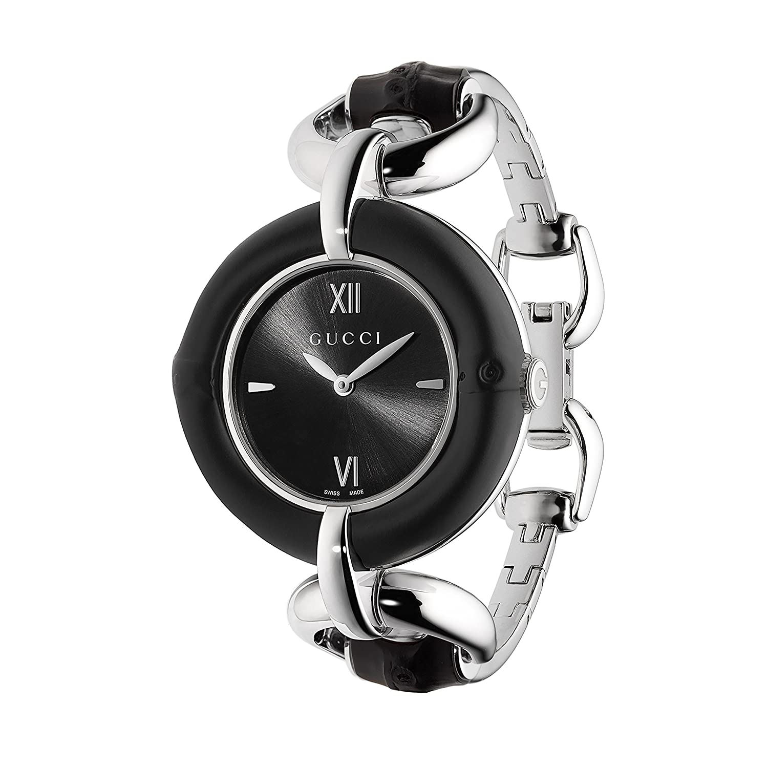 f5638a5dba3ba Amazon.com  Gucci Bamboo Iconic Black Women s Watch(Model YA132405)  Watches
