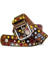 CASPAR Damen Gürtel / Nietengürtel mit bunten Nieten / Lochnieten Teil LEDER - viele Farben - GU269