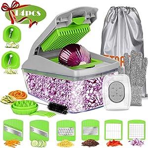 FITNATE Update version 14 in 1 Vegetable&Food Chopper Slicer Dicer, Onion Chopper, Vegetable Spiralizer Mandoline Slicer Dicer Pro, Veggie Shredder Cutter, with Brush &Organizer Bag, Dishwasher Safe
