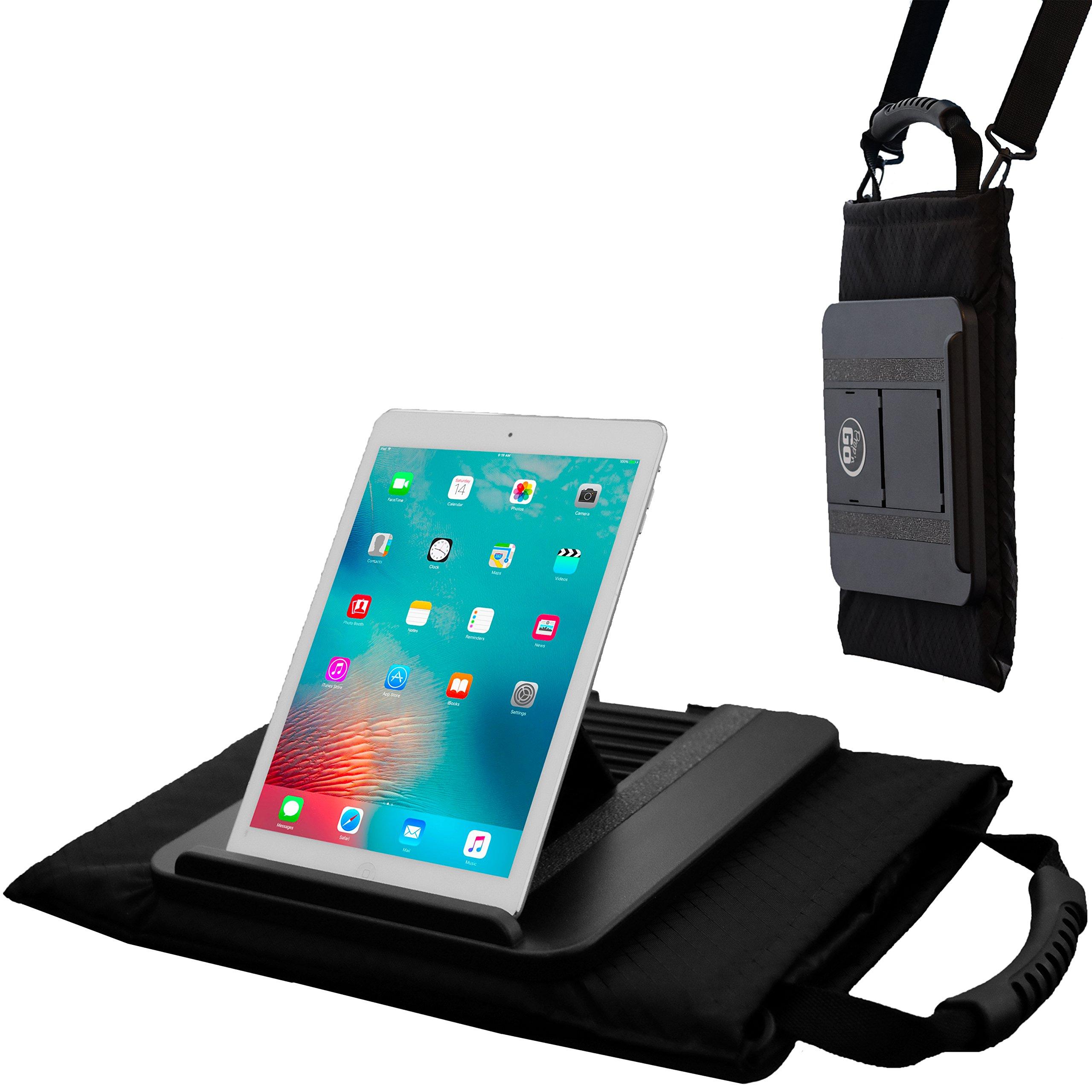Prop 'n Go Tote // XL Multi-Angle Lap Desk + Messenger Bag // PILLOW Base // Built-in HANDLE & SHOULDER STRAP // STORAGE POCKETS & Stylus Holder // For iPad (Air,mini,Pro), iPhone, MacBook, & Tablets
