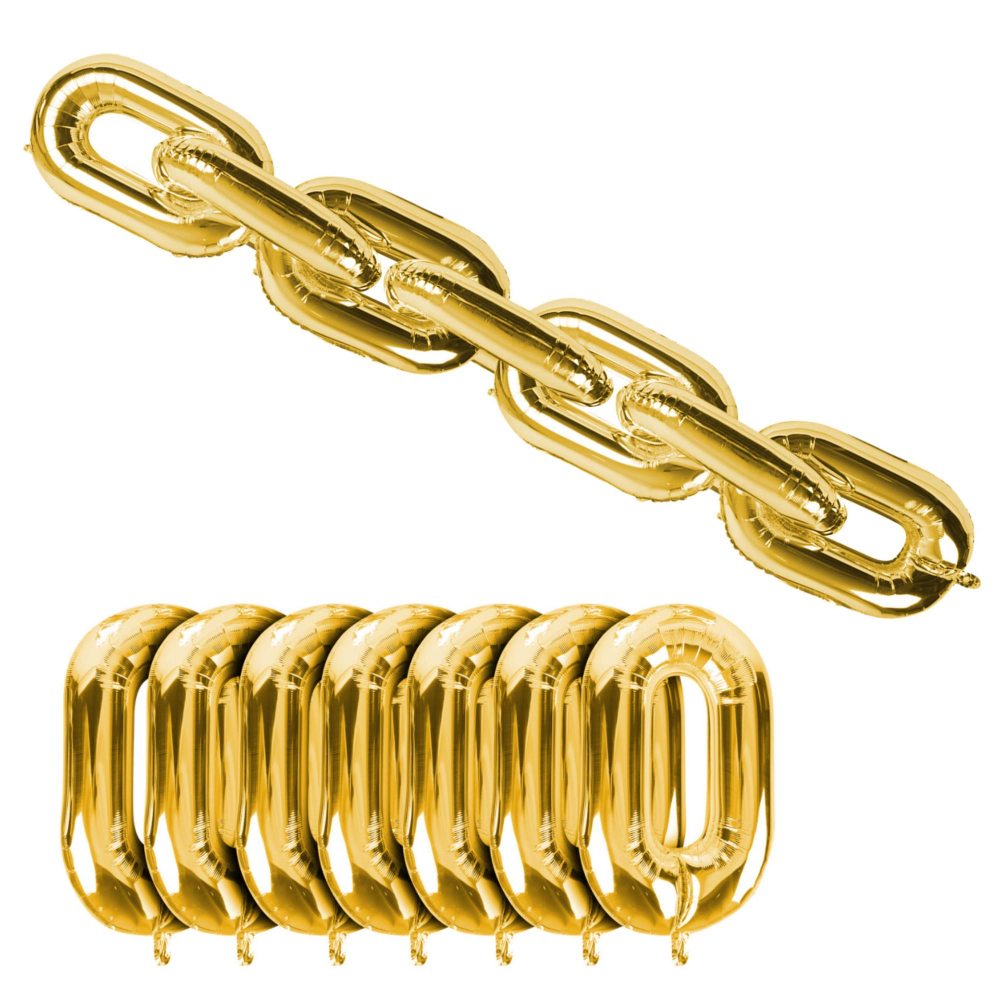 90s Party Theme Balloon Decorating Chain Link Arch for Hip Hop Photo Booth Backdrop | 7 Gold Balloons in Separated Links for Simple 80s 90s Disco Graffiti Photobooth Decorations (40 Inch)