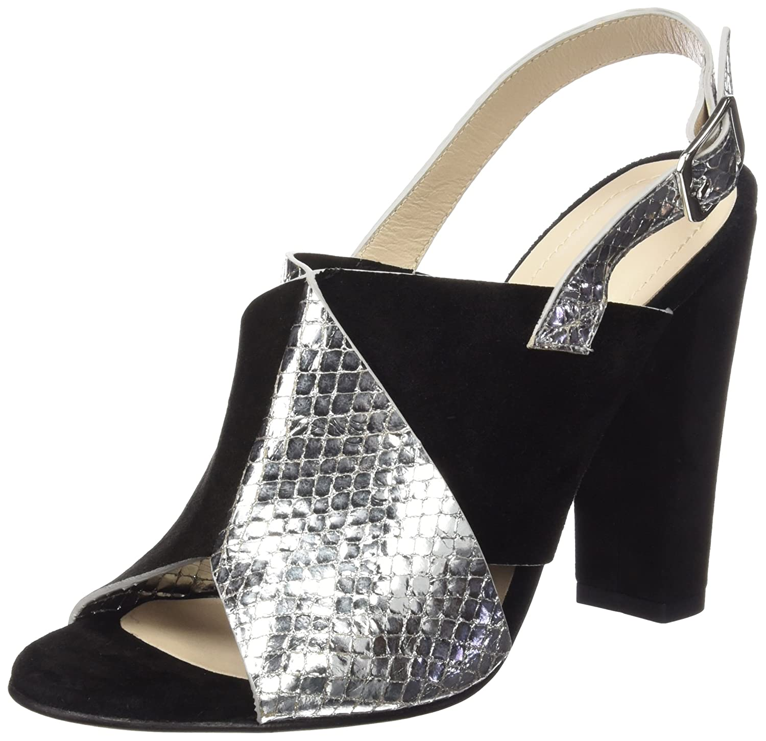 Paco Gil P3045, Sandales Bout Ouvert Femme - Argent - Silber (Silver/Black), 38
