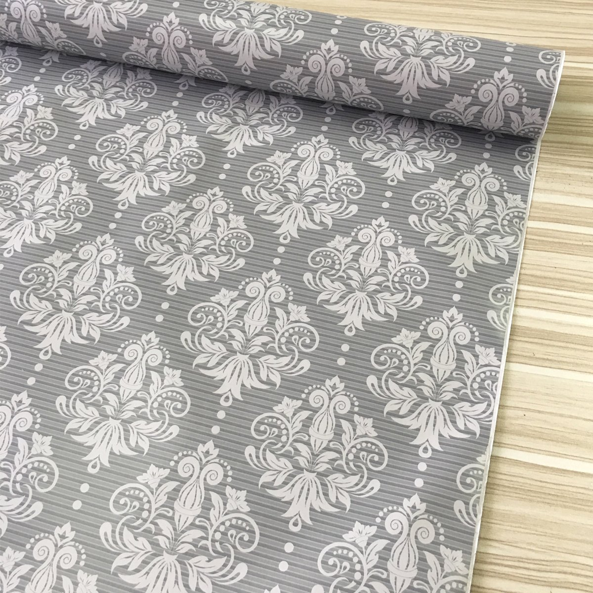 SimpleLife4U LoveFaye Grey and White Contact Paper for Cabinets Damask Shelf Drawer Liner Roll Easy Apply 17.7 Inch by 13 Feet 402141