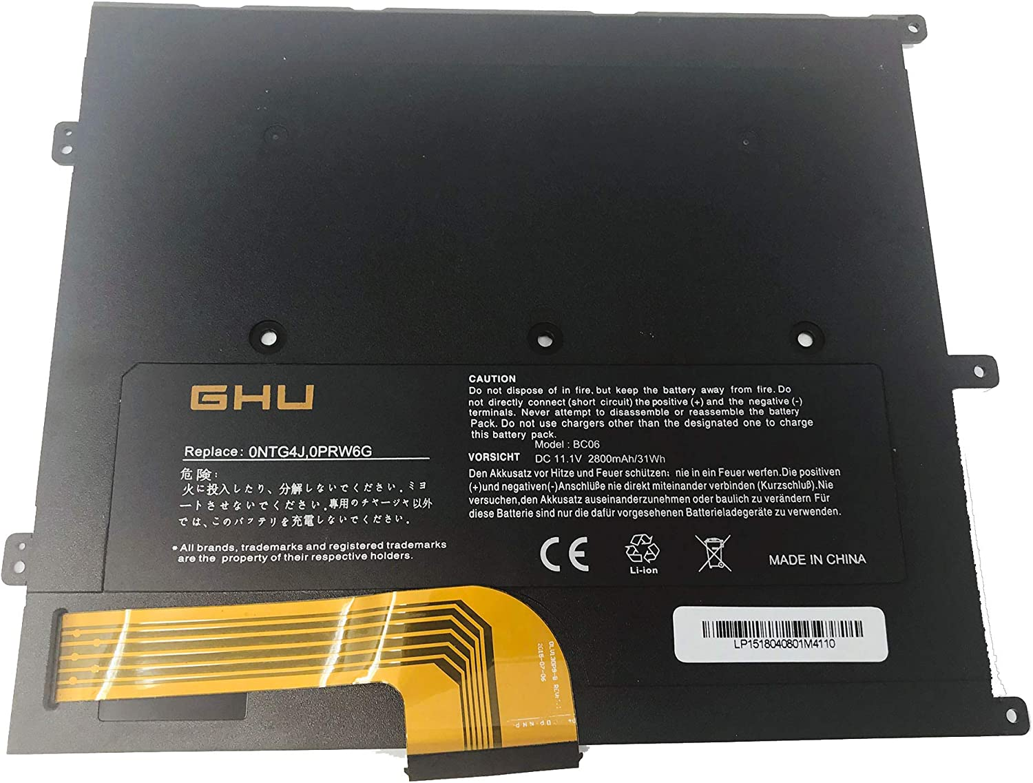 GHU Battery Replacement for T1G6P 449TX 0NTG4J PRW6G 0NTG4J 0PRW6G 0449tx Compatible with Dell Vostro V13 V130 V1300 V13Z