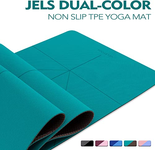TENOL JELS Yoga Mat Non Slip Dual-Color Eco Friendly Yoga Mat Thick Exercise Workout Mat with Free Carry Strap for Yoga Pilates and Fitness 72 x26 x1 4