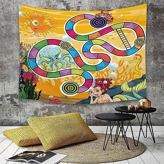 Tapestry,Hippie Tapiz,tapiz de pared con decoración para el hogar,Juego de mesa, Fantastic Aquatic Concept Mermaid Octopus Seahorse Bubble,para picnic Mantel o Toalla de Playa redonda 130 x 150 cm: Amazon.es: Hogar