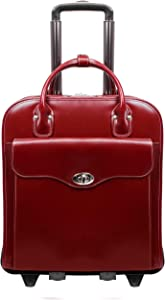 "McKlein Melrose, Top Grain Cowhide Leather 15"" Vertical Wheeled Ladies' Laptop Briefcase, Red (97036)"