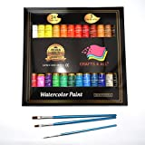 Crafts 4 ALL Watercolor Paint Set by 24 Premium Quality Art Watercolors Painting Kit for Artists, Students & Beginners - Perfect for Landscape and Portrait Paintings on Canvas