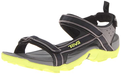 4530c691b0e44 Teva Unisex - Child Tanza Y s Sports   Outdoor Sandals Black Schwarz (neon  lime 809