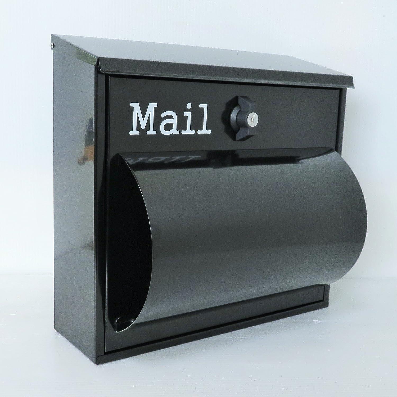 ポスト 郵便ポスト 郵便受け メールボックス壁掛け黒色 ステンレスポストm093 B00CC95K2U 12880