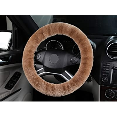 ANDALUS Car Steering Wheel Cover, Fluffy Pure Australia Sheepskin Wool, Universal 15 inch (Tan): Automotive [5Bkhe0405862]