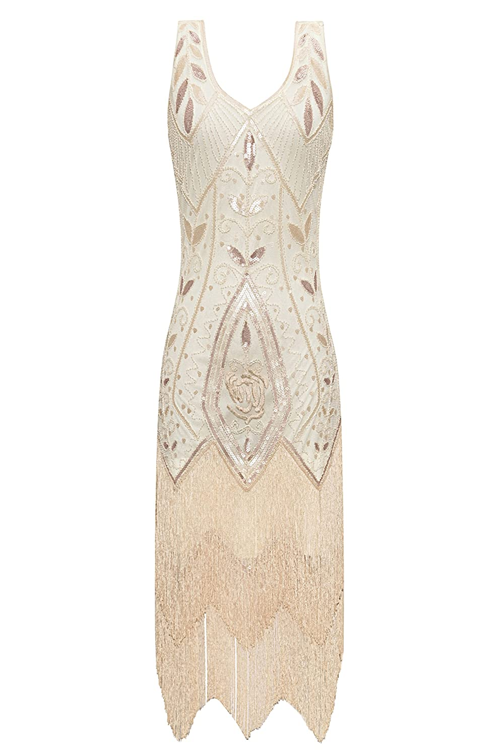 1920s Downton Abbey Dresses Metme Womens 1920s Flapper Fringe Beaded Great Gatsby Party Dress £48.99 AT vintagedancer.com