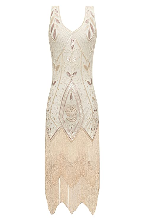 Vintage Inspired Wedding Dress | Vintage Style Wedding Dresses Metme Womens 1920s Vintage Flapper Fringe Beaded Great Gatsby Party Dress $49.99 AT vintagedancer.com