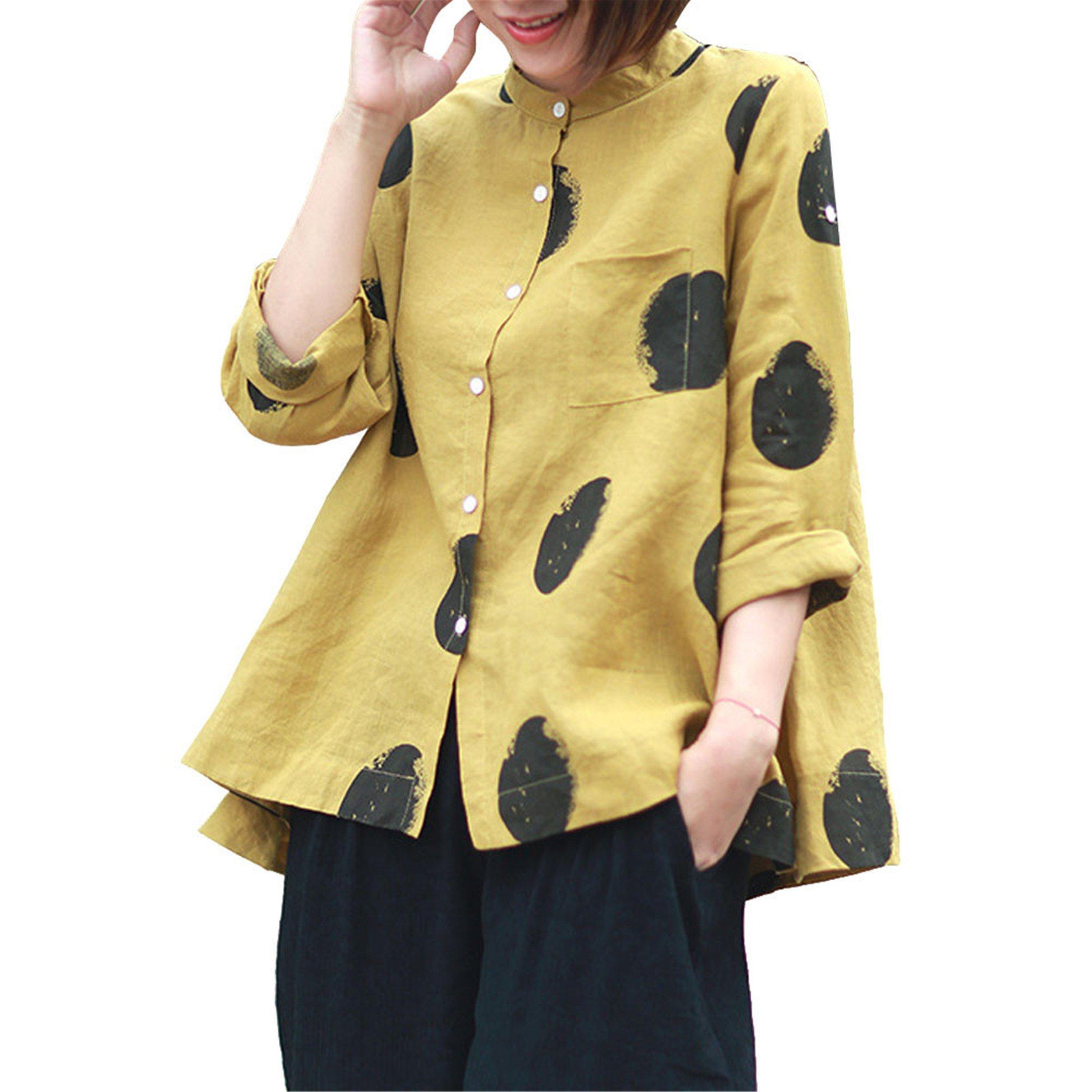 Londony ❤ Women's Button Down V Neck Polka Dot Shirts Loose Fitting Bat Short Sleeve Henley Shirts Front Tie Tops (Yellow_C, 4XL)